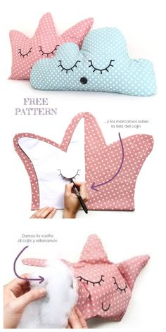DIY Crown Pillow Kostenlose Schnittmuster und Anleitungen DIY Crown Pillow Free Sewing Patterns And Sewing Patterns Free, Free Sewing, Baby Sewing, Sewing Tutorials, Sewing Crafts, Sewing Projects, Crochet Crown, Diy Crown, Diy Couture