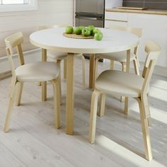 Artek Round Tables Legs of solid birch with a birch honeycomb core tabletop the tables are of the highest natural quality. Designed by Alvar Aalto in these contemporary circular tables have bent wood legs in Aa. Dining Area, Kitchen Dining, Dining Chairs, My Furniture, Modern Furniture, Circular Table, Bent Wood, Table Legs, Household Items