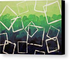 Boxed In #Geometric #WallArt by Jilian Cramb #MentalHealth Collection #abstractart #modernhome #contemporaryart #cubism #green