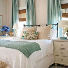 Neutral + teal bedroom Serene,peaceful atmosphere (Couldn't u just LIVE in bed w/a room such as this?!?
