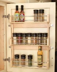 16 inch Door Mount Spice Rack. Door Mount Spice Rack features birch/maple hardwood, with a UV-cured clear coat finish that allow an acceptable match to any cabinet. This spice rack does NOT feature adjustable shelves. Easily installs with 4 screws