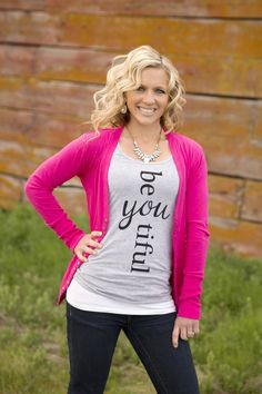 "Be""You""tiful Tank in Gray – Ivory Gem"