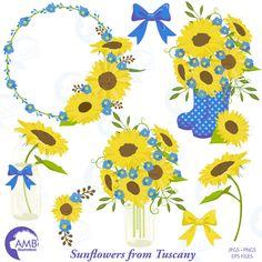 Sunflower clipart, Wedding clipart, shabby chic blue, sunflowers, country wedding, country party, mason jar, AMB-1435 by AMBillustrations on Etsy https://www.etsy.com/uk/listing/476884537/sunflower-clipart-wedding-clipart-shabby