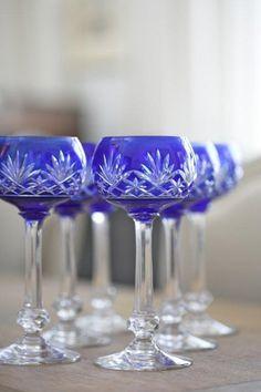 Val St Lambert crystal wine glasses