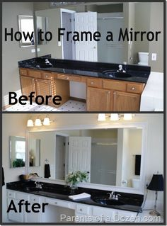 Frame a mirror. Upstairs Bathrooms, Small Bathroom, Bathroom Ideas, Easy Bathroom Updates, Master Bathroom, Bathroom Hacks, Bathroom Bin, Funny Bathroom, Guest Bathrooms