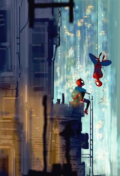 What's hanging? - Pascal Campion Matte Painting, Storyboard, Miles Morales Spiderman, Pascal Campion, Smell Of Rain, American Flag Stars, Spiderman Art, Beach Cover Ups, Layout