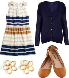 new-tral by peppahwood featuring topshop Madewell dress / Topshop / Ballet flat / Marc by Marc Jacobs stud earrings Teacher Appropriate Outfits, Professional Teacher Outfits, Young Teacher Outfits, New Girl Outfits, Spring Outfits, Cute Outfits, New Girl Style, Preppy Style, My Style