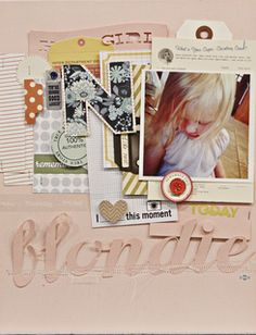 Really love the giant monogram letter.......{Blondie by Jen Jockisch at Studio Calico}