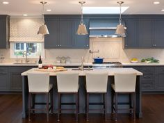 Contemporary kitchen - Design Trend Blue Kitchen Cabinets & 30 Ideas to Get You Started – Contemporary kitchen Blue Gray Kitchen Cabinets, Kitchen Cabinet Colors, Painting Kitchen Cabinets, Kitchen Colors, Kitchen Decor, Kitchen Ideas, Kitchen Paint, Loft Kitchen, Kitchen Counters