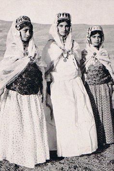 Kurdish teenage Girls in their traditional dress in Mahabad c.1941