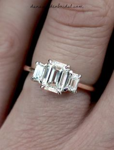 Emma Emerald Cut Diamond Three Stone Engagement Ring in White Gold by Dana Walden Bridal NYC