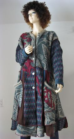 great coat from recycled sweaters