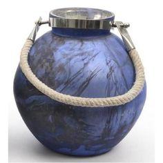 "Seaside Treasures Indigo and Black Marbled Glass Hurricane with Rope Handle 14.5"""" V704-31531940"