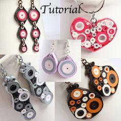 Tutoriel pour papier bijoux piquants PDF Retro cercles boucles d'oreilles et pendentif Designs
