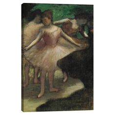Add museum-worthy appeal to your living room or study with this eye-catching canvas print of Edgar Degas' Trois Danseuses en Rose 1886. ...