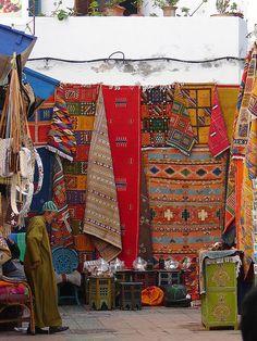 Berber rugs on display in the Medina.