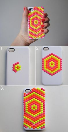 Diy iphone case makeovers - neon studded phone case - easy diy projects and handmade crafts tutorial ideas you can make to decorate your phone with glitter, Diy Phone Case, Cute Phone Cases, Iphone Cases, Diy Case, Cool Diy, Fun Diy, Diy Sharpie, Sharpie Paint, Diy Sticker