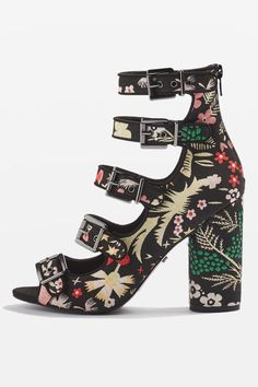 Look to a statement piece to add to your shoe collection this season with the ROBIN multi strap sandals in a striking floral print, with a peep toe and high heel.