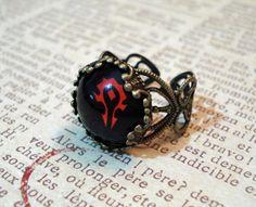 World Of Warcraft Horde Logo Brass Filigree Ring