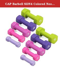CAP Barbell SDN4 Colored Neoprene Hex Dumbbell Set - 1, 2, 3, 4, 5 lbs (5 pairs) - For Aerobic Workouts and Light Strength Training. Economy SDN4 Neoprene Covered Hexagonal Dumbbells by CAP Barbell - Buying your neoprene coated dumbbells by the set is definitely cheaper than buying by the single pair and CAP Barbell has configured each set into the most popular weights based on what customers ask for most. Each pair of dumbbells is completely encapsulated in brightly colored neoprene for...