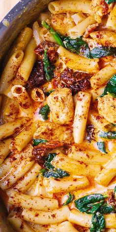 Asiago Chicken Pasta with Sun-Dried Tomatoes and Spinach - with everything smothered in a delicious Asiago cheese sauce. Easy recipe that tastes great and looks great. If you love Asiago cheese, this is a great Asiago Chicken, Chicken Pasta, Shrimp Pasta, Chicken Paprika, Penne Pasta, Italian Dishes, Italian Recipes, Night Dinner Recipes, Al Dente