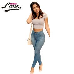 Dearlovefitness Shaping Effect Skinny Light Blue Classic High Waist Skinny Jeans Plus size XL pants female trousers 2017 LC78614
