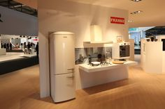 Vintage. Franke's well at #Eurocucina reflects different lifestyle choices in the kitchen. This selection sees a strong 50's retro inspiration for color, style and design but offering the latest technology and  function for the appliances.