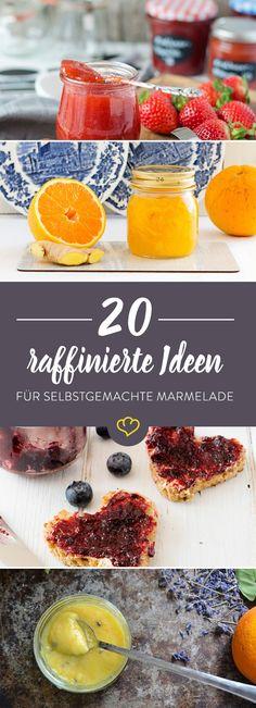 Erdbeere, Blaubeere, Holunderblüte, mit Sekt oder buntem Obstmix - mach dir Marmelade, wie sie dir gefällt! Wir haben für dich 20 raffinierte Rezeptideen. Chutneys, Jam Recipes, Sweet Recipes, Sauces, Jam And Jelly, Sweet And Spicy, Food Inspiration, Food To Make, Brunch