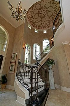 beautiful staircase design (look at the gorgeous ceiling - Martin Bros.)