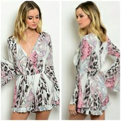 "The Kris Romper in size S M L Beautiful patterned romper, sizes S M L Please indicate size, material is polyester Price firm unless bundled   Measurements  S Bust 19"" M Bust 20 "" L Bust 21"" Boutique  Dresses"