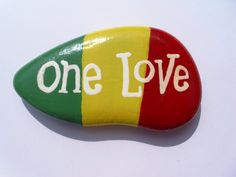 One Love Rasta Hand Painted Pebble. by Quacraft on Etsy, £4.00