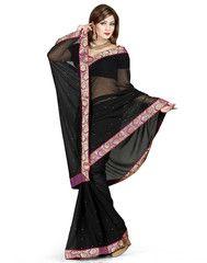 Black Color Chiffon Casual Occasion Sarees : Prashabdi Collection  YF-41525