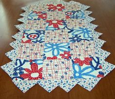 Red, White, and Blue Charm Square Table Runner | PutmanLakeDesigns - Quilts on ArtFire