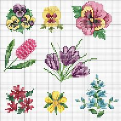 Possible loom or square stitch patterns Small Cross Stitch, Cross Stitch Cards, Cross Stitch Borders, Cross Stitch Flowers, Cross Stitch Designs, Cross Stitching, Cross Stitch Embroidery, Embroidery Patterns, Hand Embroidery