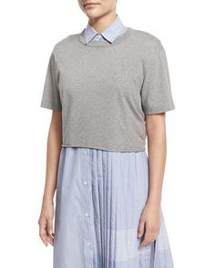 Public School Lara Cropped Heathered Jersey Tee, Gray In Heather Grey School Fashion, Public School, Tie Backs, Heather Grey, Tees, Shirts, Polo Ralph Lauren, Short Sleeves, Pullover