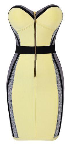Joie Crystal Embellished Yellow Grey Illusion Bandage Dress