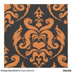 Orange Dam Mask Fabric #halloween #damask #Creepy #Fabric http://www.Zazzle.com/LongNeckGoosie?rf=238216403614574434