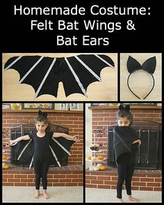 DIY Bat Costume for Kids (Tutorial for Felt Bat Wings and Bat Ears) ~ BuggyandBuddy.com