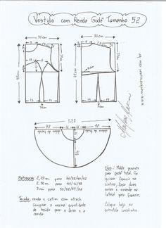 Esquema de modelagem de vestido com renda tamanho 52.