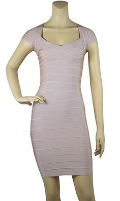 Love Struck Beige Cap Sleeve V Neck Bodycon Bandage Mini Dress - Inspired by Miranda Kerr