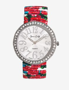 Red Floral Print Stretch Band Rhinestone Watch – Ladies|Stage Stores