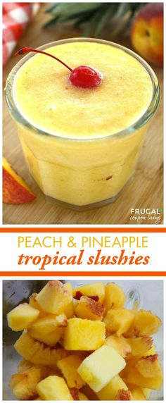 Peach and Pineapple Tropical Slushies are great for brunch on a warm summer day! Your guests will love the fresh fruit in this 3-ingredient drink. Plus, you can turn this mocktail into a cocktail by adding rum, sparkling wine, or bourbon.