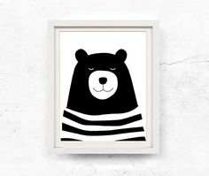 Bear illustration. Monochrome nursery wall art. This listing contains HIGH RESOLUTION 8x10 and 11x14 digital files for INSTANT DOWNLOAD.  These