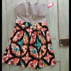 Strapless floral & striped dress sz medium Nwt xhilaration strapless dress floral pleated bottom top has padding size medium Xhilaration Dresses Mini