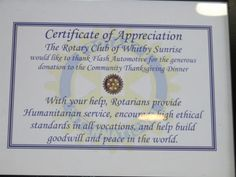 Certificate of Appreciation from The Rotary Club of Whitby Sunrise