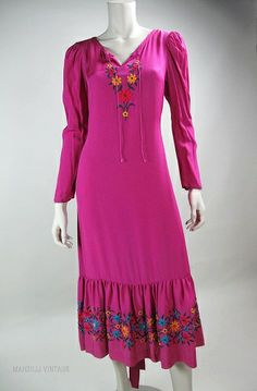 1970s Embroidered Betsey Johnson Alley Cat Dress