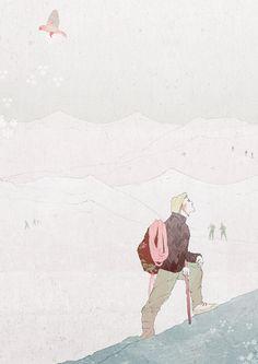 Bergblau: Alpinisten