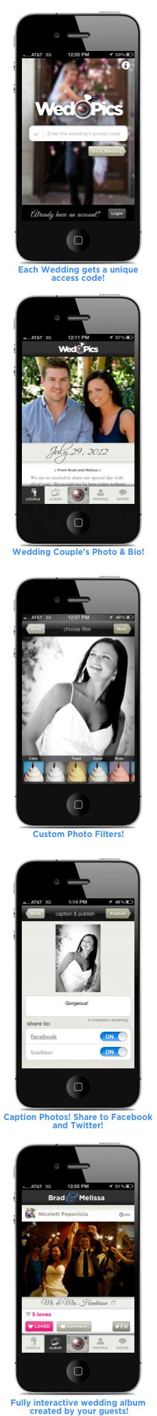 WedPics is an interactive wedding album created by your guests (www.WedPics.com). Spend more time enjoying your memories and less time chasing them down. Available for iPhone, Android and Web #DisposableCamerasAThingOfThePast