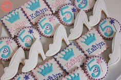 princess inspired 5th birthday cookies