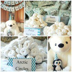 Polar Bear and Penguin Birthday Party Powdered donuts = Arctic Circles White chocolate kisses = Polar Ice Caps